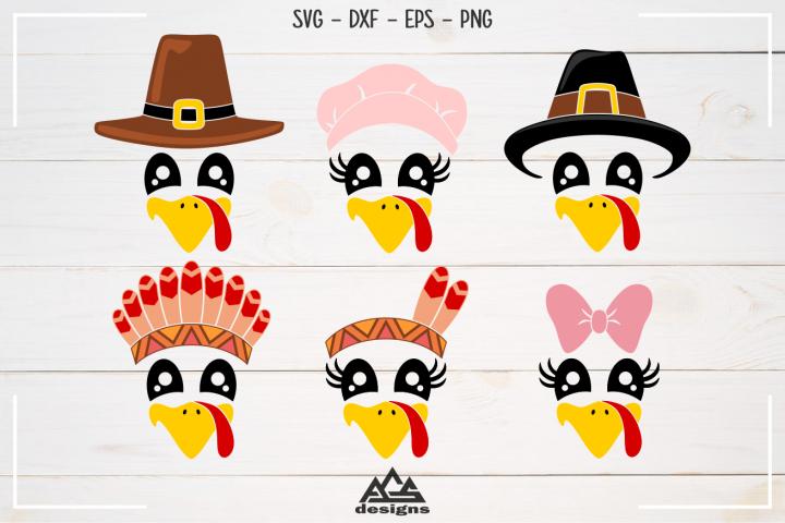 Cute Turkey Face Thanksgiving Svg Design