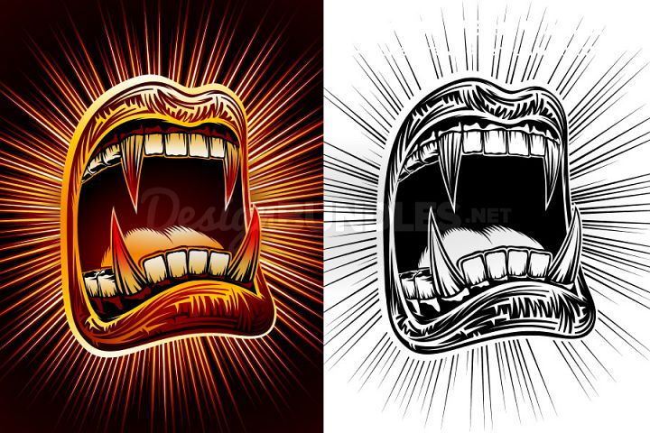Vector Mouth Open Halloween Vampire Jaws Fang Stamp Print