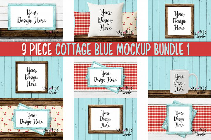 Mockup Bundle - Cottage Blue Wood Signs, Pillow & Coffee Cup