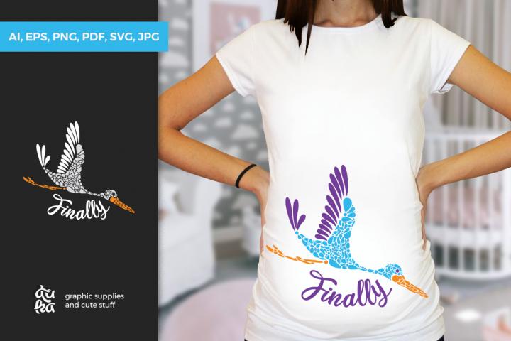 Pregnancy Announcement SVG Cut Files - Finally - Stork