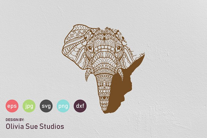 Elephant Africa Mandala SVG Cut File