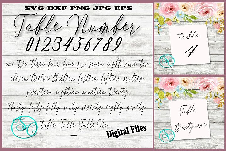 Wedding table numbers in cut and print files.