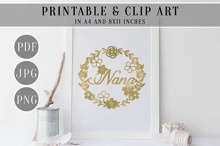 Nana Gold Foil Wreath Printable, Clip Art, Home Decor, PDF