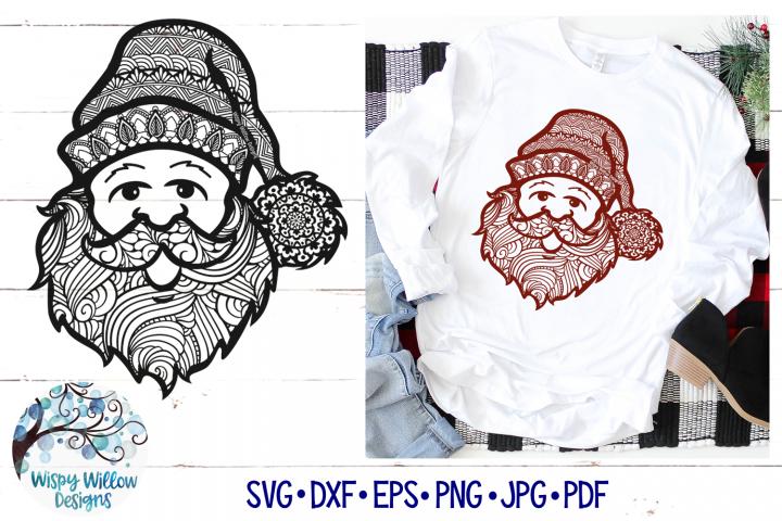 Santa Zentangle SVG | Christmas Santa Mandala SVG File