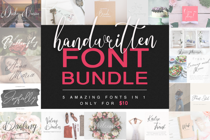 Handwritten Font Bundle 5 in 1
