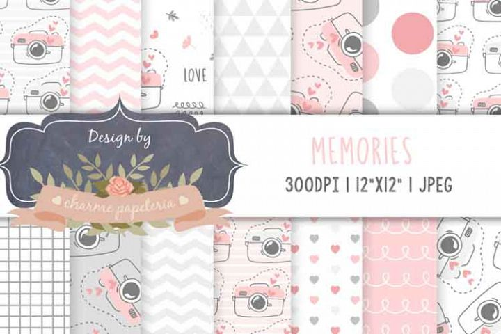 Pink and gray digital camera paper, Geometric pink and gray