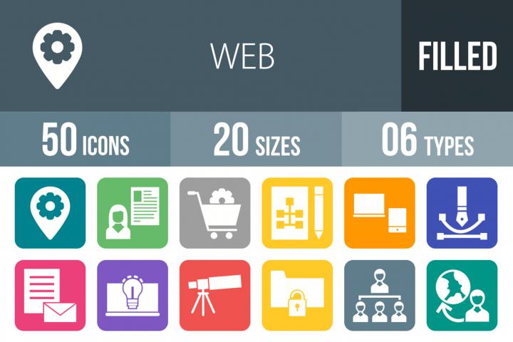 50 Web Filled Round Corner Icons