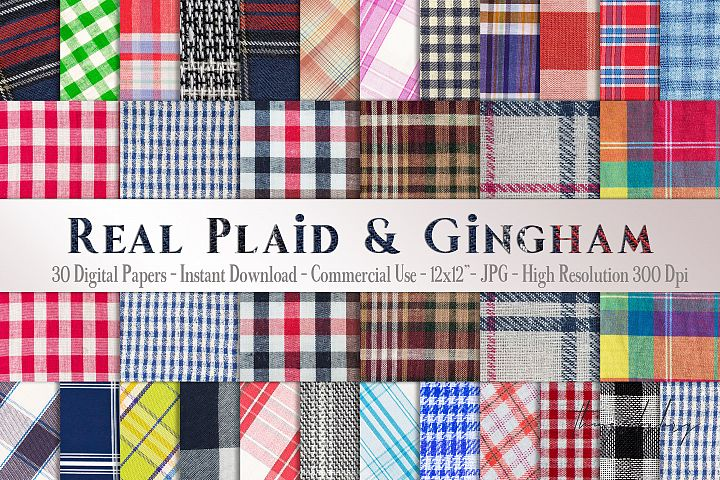 30 Real Plaid Gingham Fabric Canvas Linen Digital Papers