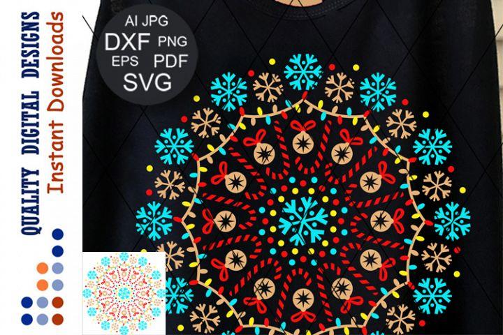 Merry Christmas Mandala clip art Snowflakes SVG Colorful