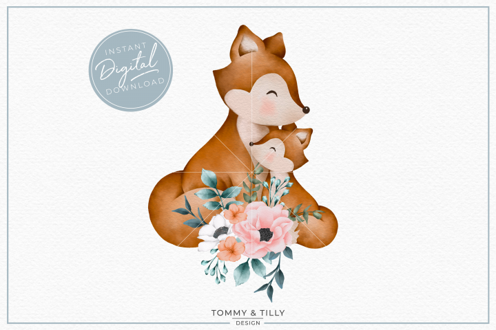 Floral Mummy and Baby Fox - Sublimation PNG Clipart