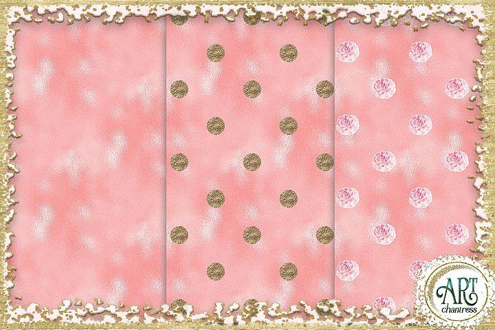 Glitter digital paper-pink,white,gold-digital textures JPEG example 1