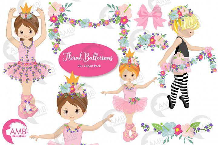 Floral Ballerina clipart , graphics AMB - 2606