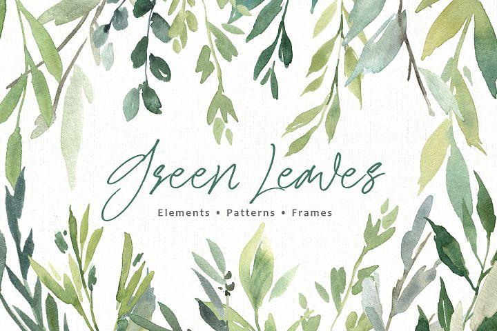 Watercolor Greenery Green Leaves PNG