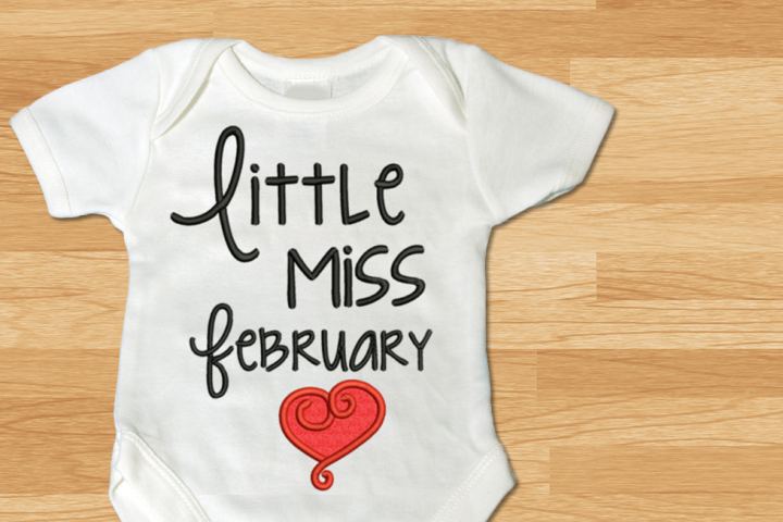 Little Miss February Heart Applique Embroidery Design