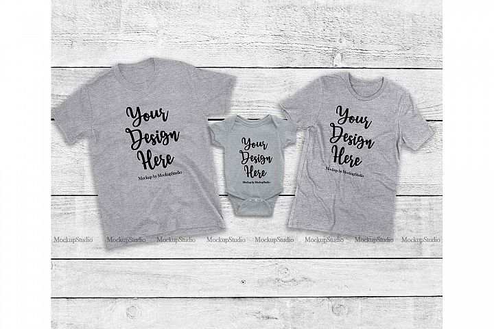 Matching Family Gray T-Shirts Mockup, Baby Bodysuit Set