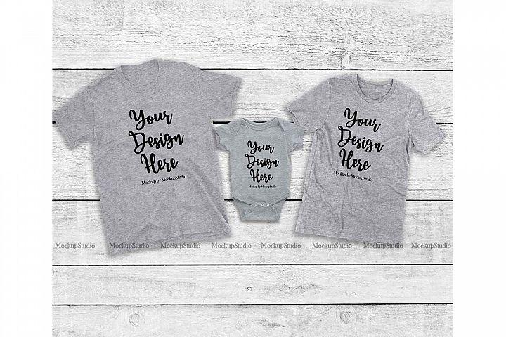 Matching Family Gray T-Shirts Mockup, Baby Bodysuit Set