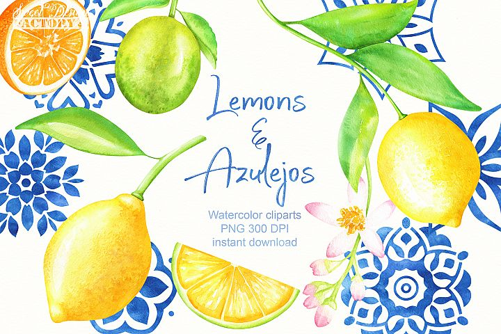 Watercolor lemons and blue ceramics clipart
