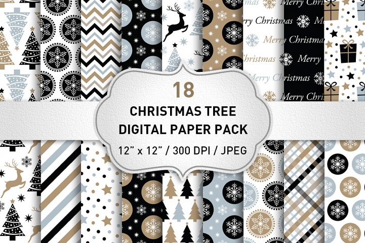Christmas Digital Paper / Black and Gold Christmas Paper