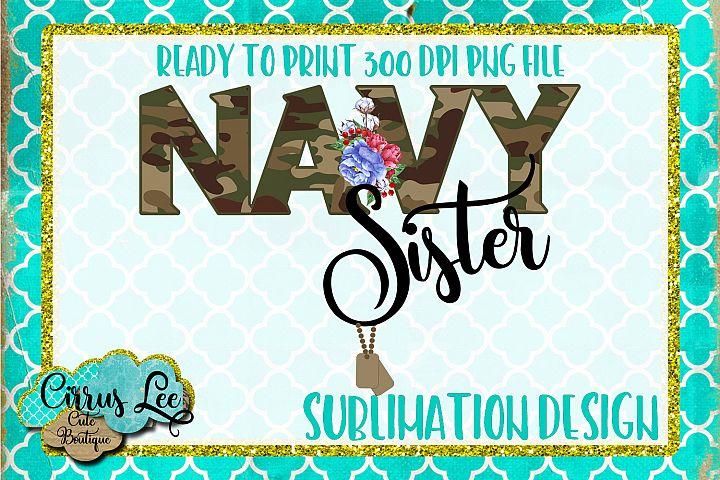Navy Sister Sublimation Design