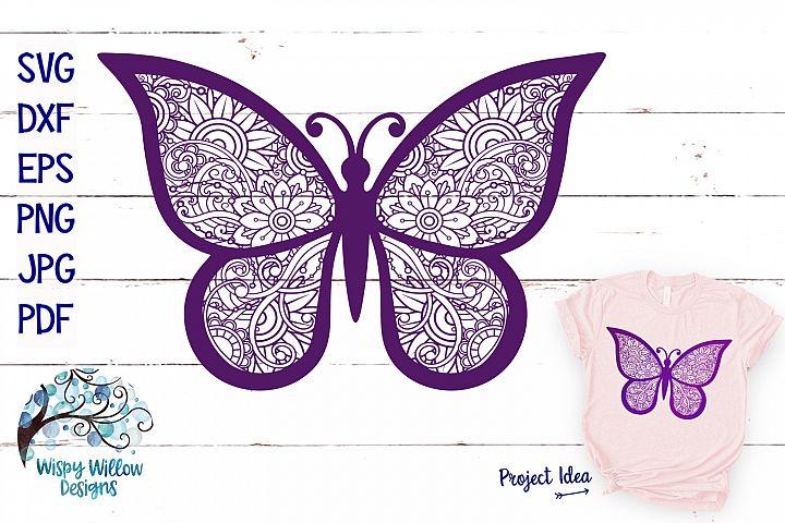 Butterfly Zentangle SVG | Animal Mandala SVG | Summer SVG
