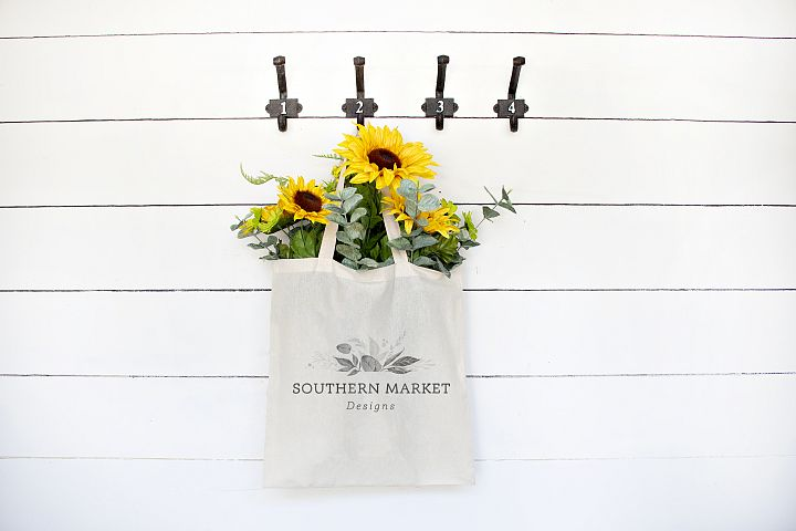 Sunflower Summer Styled Canvas Tote Mock Up Photo