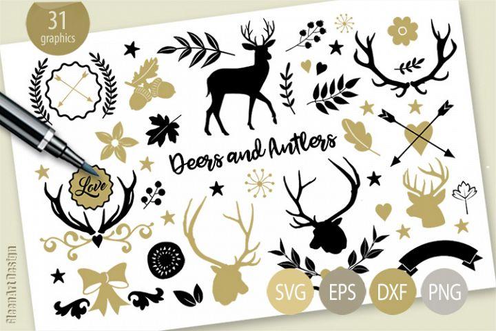 Deers, Antlers, Flowers, Leaves, Swirl effects, Clipart, SVG