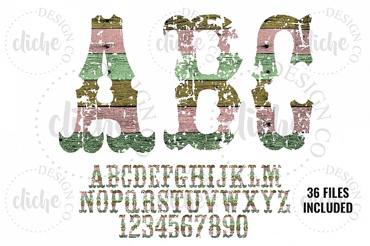Grunge Wood Alphabet Sublimation Set
