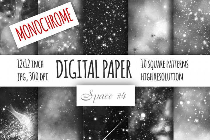 Monochrome galaxy digital paper. Starry sky