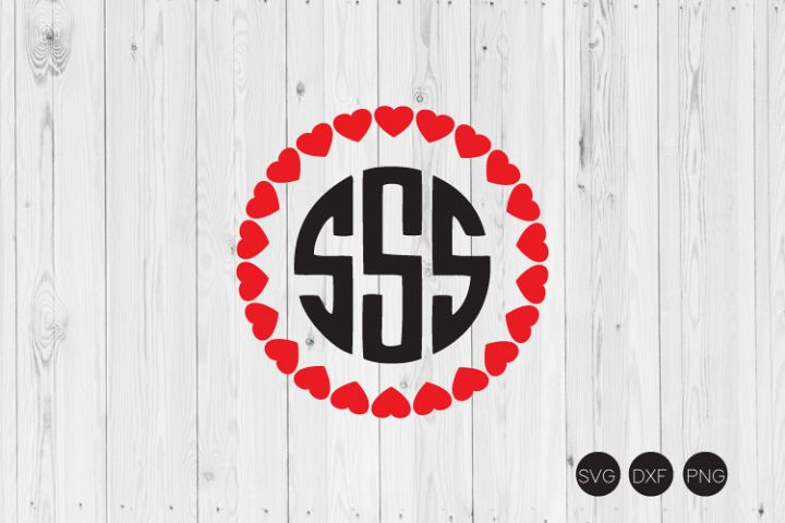 Valentines Day Heart Monogram SVG, DXF, PNG Cut File