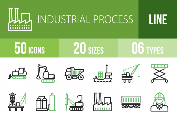 50 Industrial Process Line Green & Black Icons