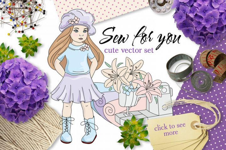SEW FOR YOU Color Vector Illustration Set