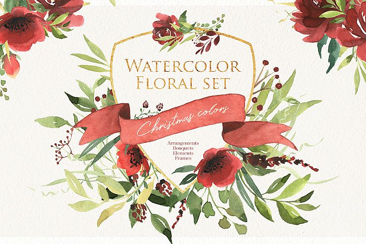 Watercolor floral set. Christmas color