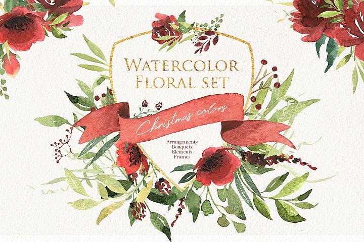 Watercolor floral set. Christmas color