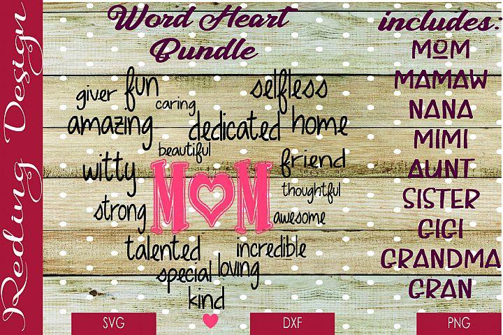 Bundle Mom Word Heart SVG DXF PNG Digital Cut Files