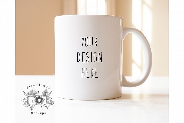 White Coffee Mug Mockup - Minimalist Coffee Cup Mock-up JPEG