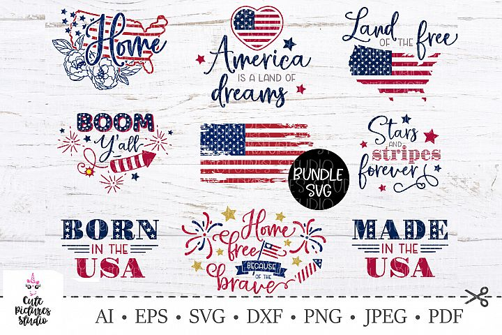 Bundle SVG USA Independence Day. America maps, flag svg