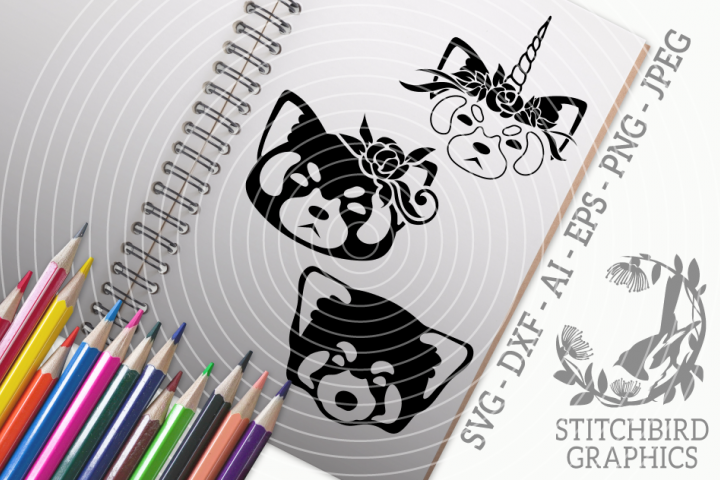 Red Panda 2 Bundle SVG, Silhouette Studio, Cricut, Eps, JPEG