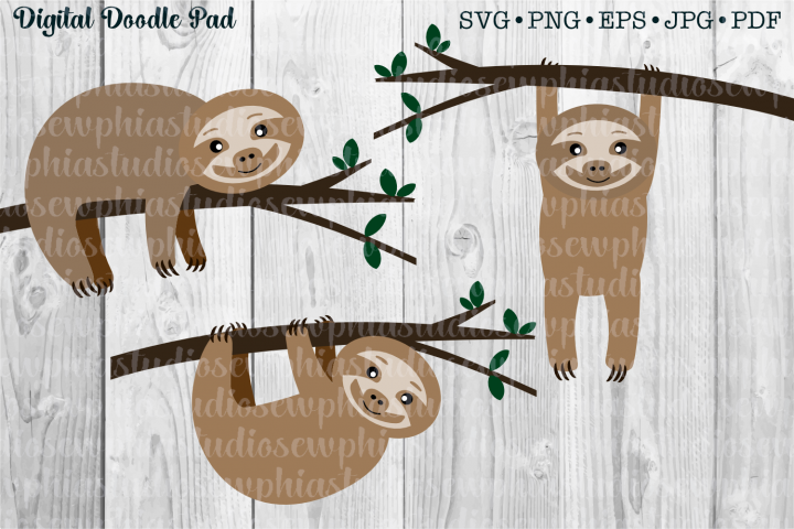 Sloth Set of 3 by Digital Doodle Pad