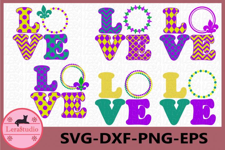 Mardi Gras Svg, Monogram Svg, Love Svg, Fleur de Lis Svg