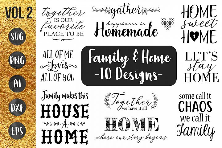 FAMILY & HOME- 10 designs - svg cut files Cricut Silhouette