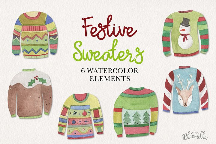 Festive Jumpers Watercolor Elements Christmas Sweaters Xmas