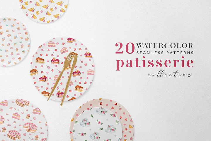 Watercolor Seamlesss Patterns - Baking - Patisserie - Sweet