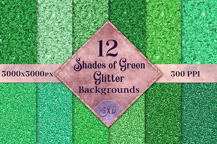 Shades of Green Glitter - 12 Background Image Textures