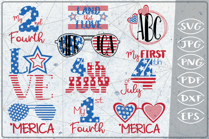 4th of July Bundle 10 Independence Day Crafters SVG Designs