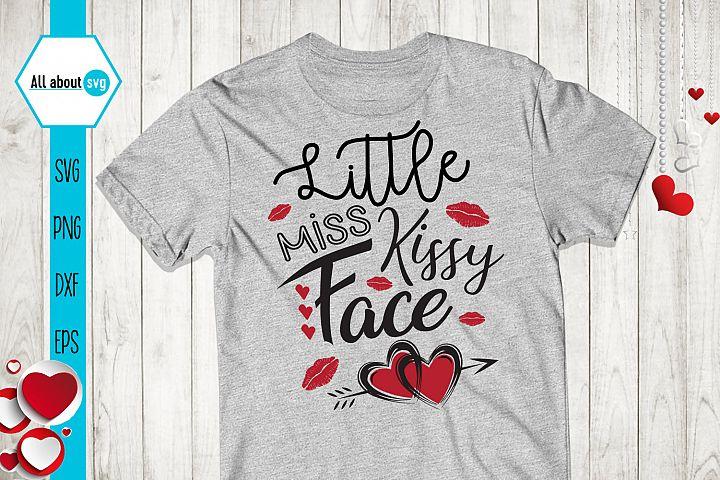 Little Miss Kissy Face Svg, Valentines Day Svg