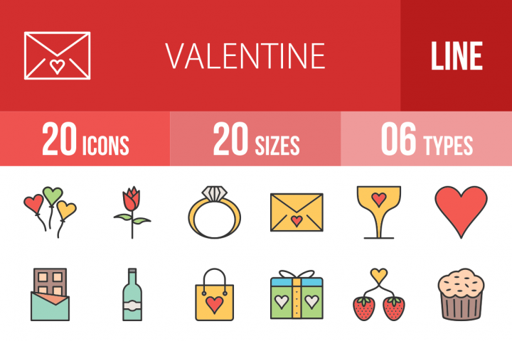 20 Valentine Filled Line Icons Season II