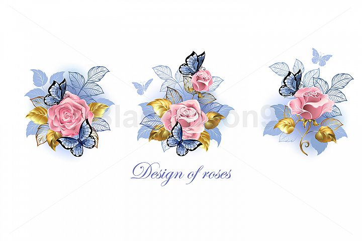 Set of Pink Roses with Butterflies