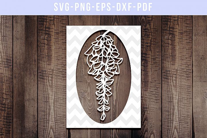 Wisteria Peony Frame Papercut Template, Spring Flower SVG