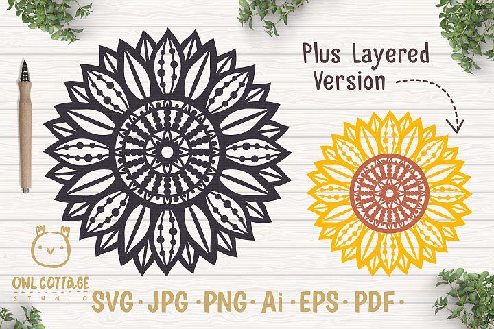 Sunflower Zentangle svg, Sunflower svg, Sunflower Monogram