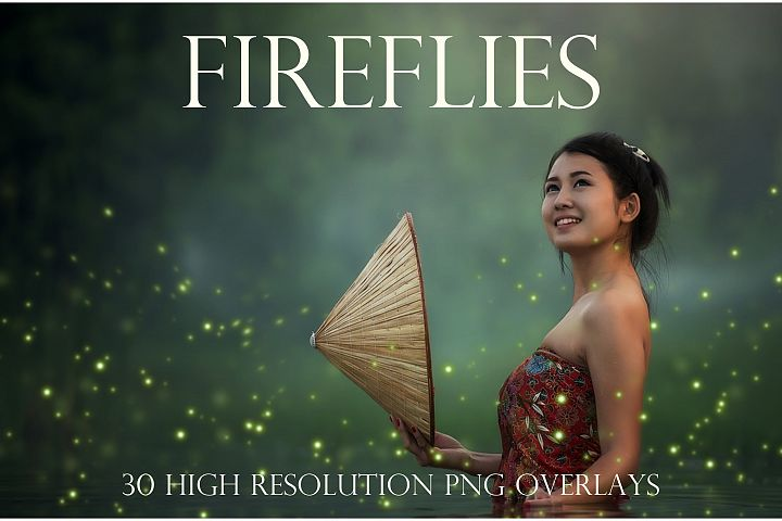 Sparkling firefly photographic overlays